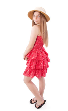 summer dress: beautiful teenage girl in a summer dress Stock Photo