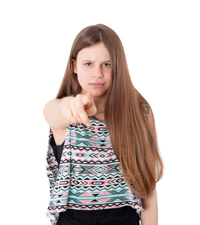 accuse: angry girl pointing her finger against somebody Stock Photo