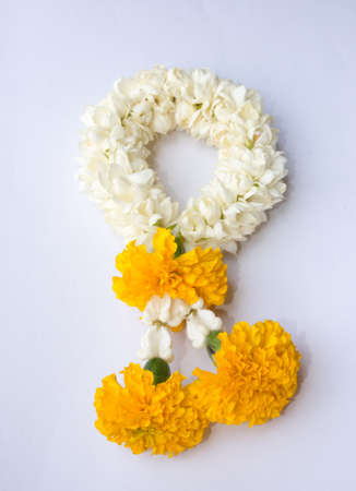 White garland festoon for worship buddha in Thailand  photo