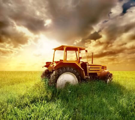 a agriculture landscaped with a old tractor