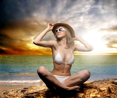 a girl on the beach photo