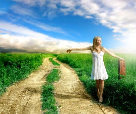 healthy path: a beautiful woman in a country Stock Photo