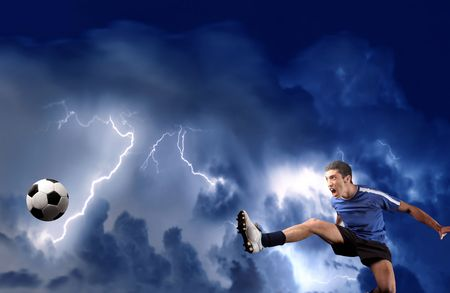 ball lightning: soccer player in a acrobatics