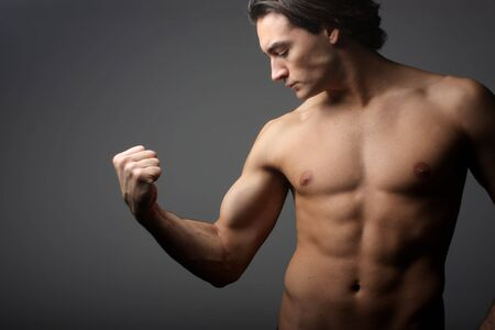 perspire: a biceps of a man