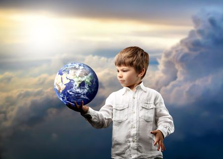 future space: a child with a globe