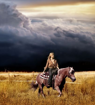 a woman riding horse in countryside