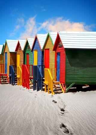 Colorate Beach Huts vicino a Cape Town Archivio Fotografico