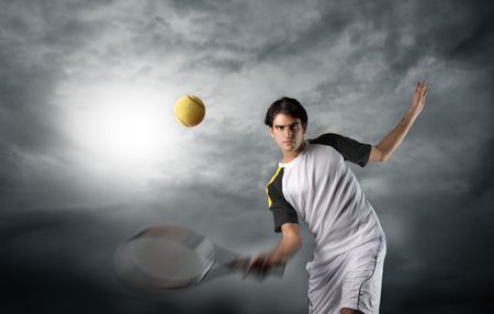 action shot: tennis player in a cloudy sky