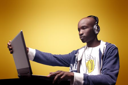 american music: black boy loading music from internet