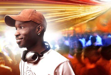 deejay: portrait of black deejay in a disco  Stock Photo