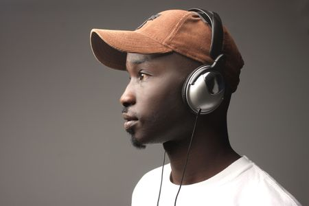 dj boy: black guy on profile listening music with earphones