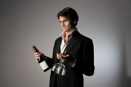 offering: handsome man offering red wine