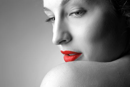 closeup of woman with red lips Stock Photo - 5619765