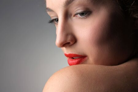 closeup of woman with red lips Stock Photo - 5619767