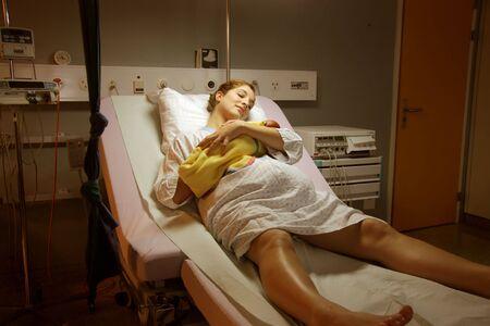 sala parto: incinta di un figlio in ospedale Archivio Fotografico