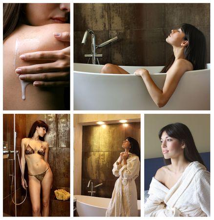 femme se deshabille: plusieurs portraits de la femme dans la salle de bains