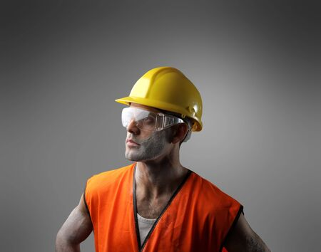 portrait of a worker with hard hat photo