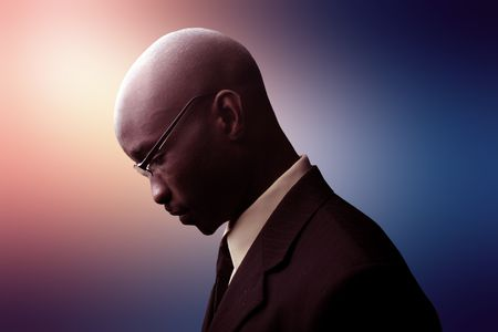 portrait of frustrated african businessman photo