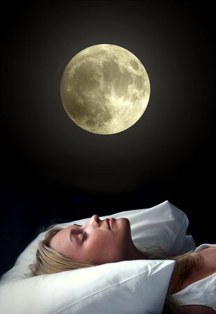 accomodation: beautiful girl sleeping under the moonlight