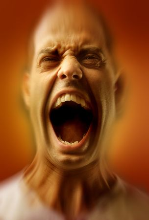 portrait of man in extreme rage photo