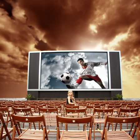 big screen: big open air video transmitting soccer competition Stock Photo