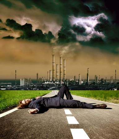 businessman died on a street towards factory Stock Photo - 5731373