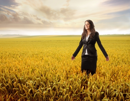 business woman in a countryside Stock Photo