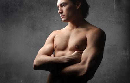 barechested: Young attractive bare-chested man
