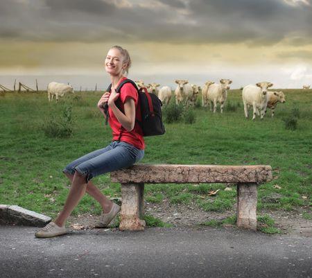 Giovane donna seduto su una panchina di pietra con animali sul prato verde sullo sfondo