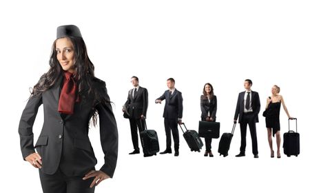 hotesse de l air: Hostess and group of business people