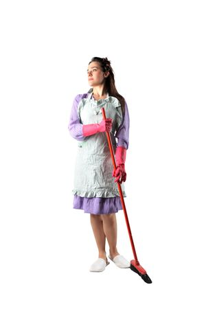 housewife gloves: Housewife holding a broom