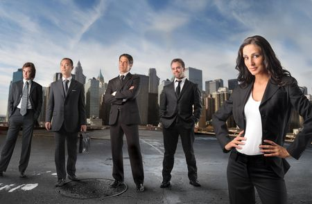 Smiling businesswoman and group of business people on the background Stock Photo - 6628099