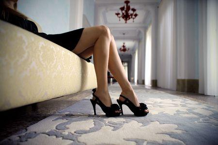 stiletto: Detail on a beautiful womans feet Stock Photo
