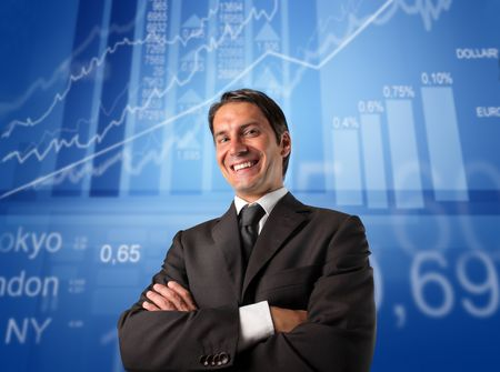 job market: Smiling businessman with statistics on the background