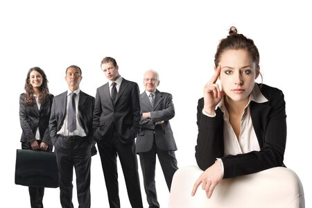 Young businesswoman with business team on the background photo