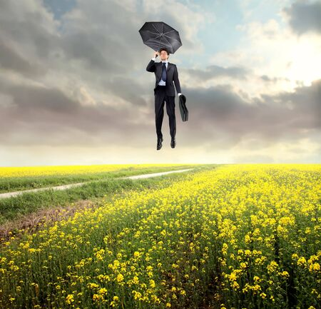 Businessman flying over a green meadow photo