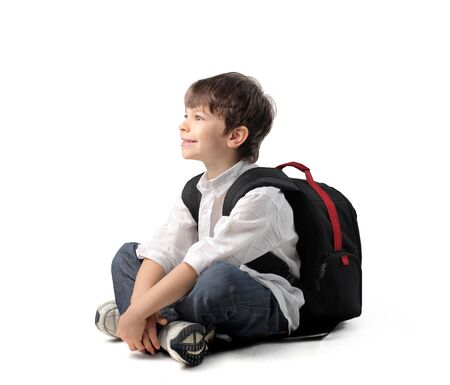 school backpack: Smiling child with rucksack Stock Photo