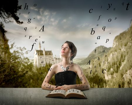 Young woman reading a book with letters flying out from it and fabulous castle on the background