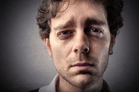 man crying: Young man crying