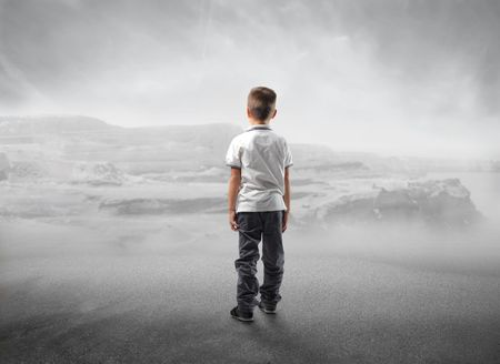 back views: Child looking into the void Stock Photo