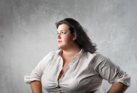 fatten: Fat woman with sad expression