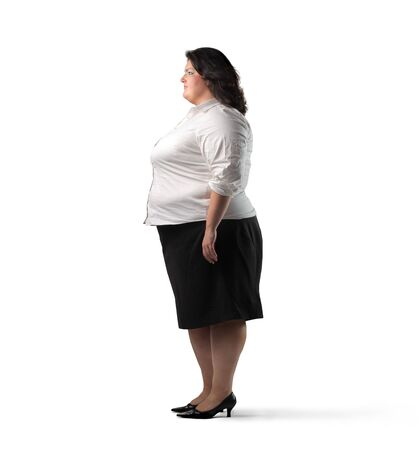 alimentation: Profile of a fat woman Stock Photo