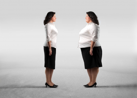 alimentation: Fat woman standing in front of her thinner clone