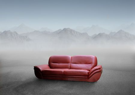 red sofa: Red sofa in a desert