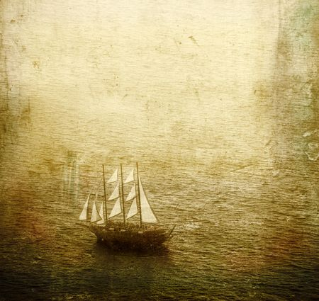 yellow boats: Old wooden sailing ship Stock Photo