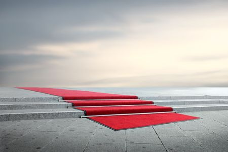 red carpet background: Red carpet on a strairway Stock Photo