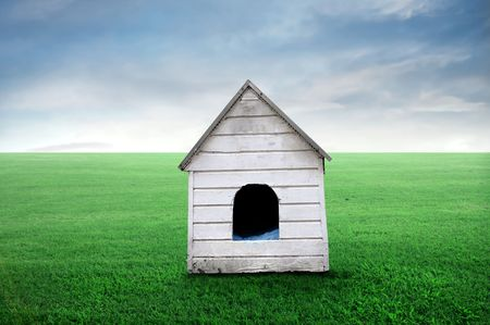 Wooden doghouse on a green meadow Stock Photo - 8193054