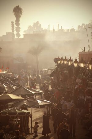 tent city: Panorama of a marketplace in Marrakech