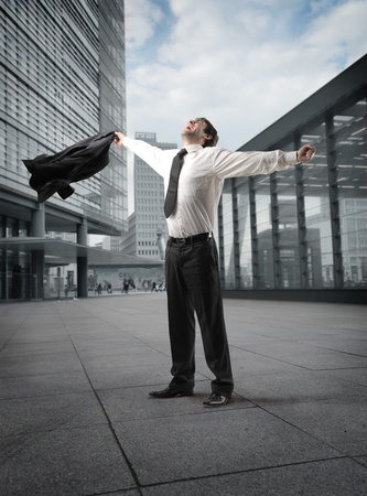 Triumphing businessman  Stock Photo - 8484402