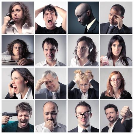 mujer decepcionada: Collage de la gente de negocios estresadas